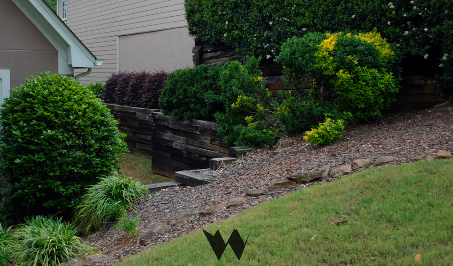cross tie retaining wall replacement alpharetta ga