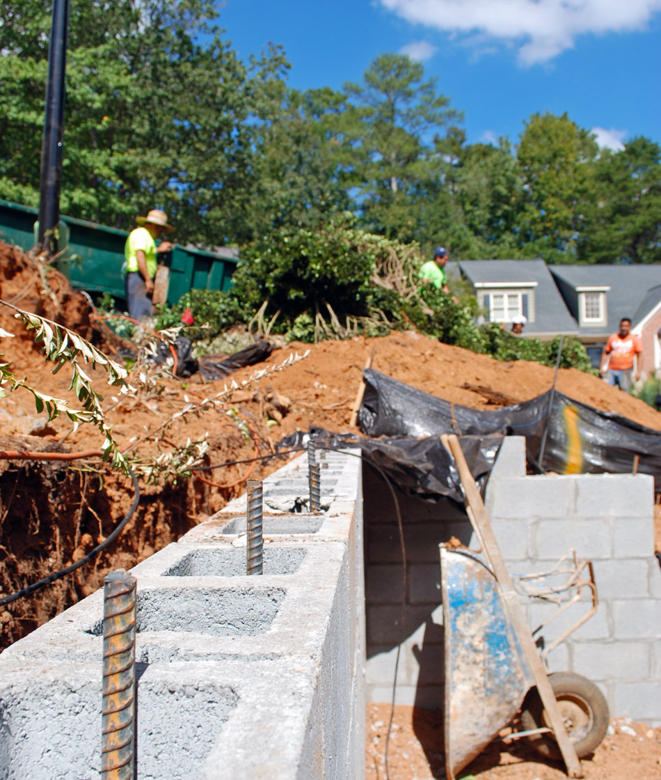 retaining wall construction alpharetta ga